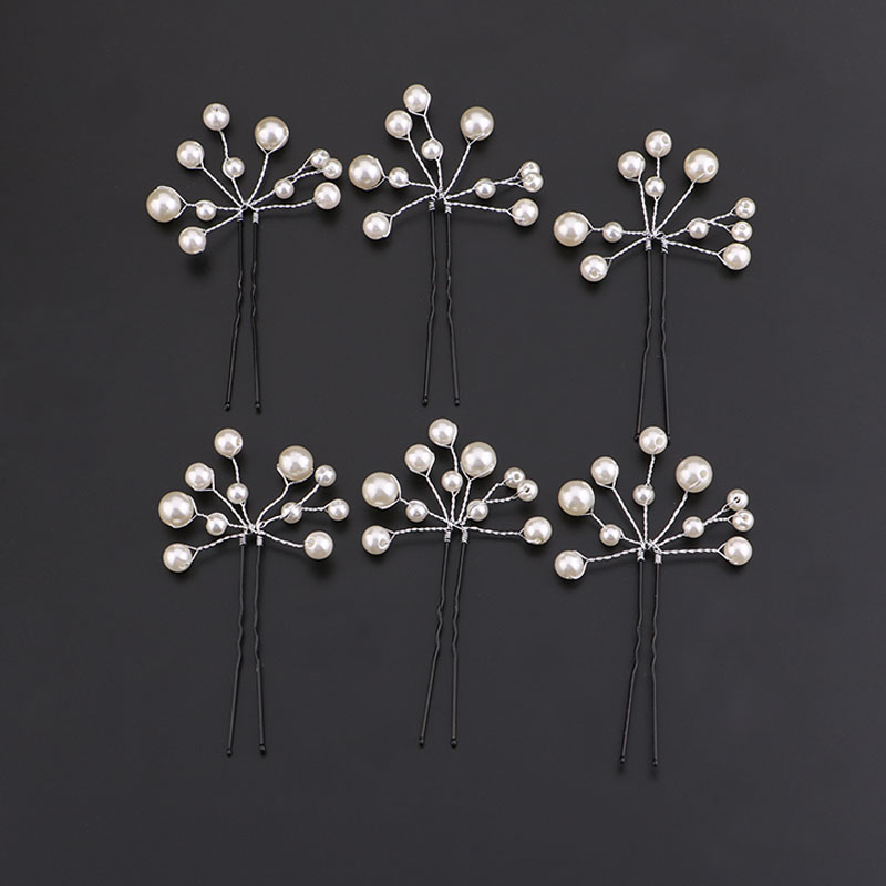 6Pcs Crystal Pearl Flower Bridal Hair Pins Hairpins Bridesmaid Hair Sticks Headpiece Wedding Tairas Hair Jewelry Accessories