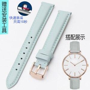 Image 2 - Bracelet en cuir véritable or rose, 14mm 15mm 16mm 17mm 18mm 19mm 20mm, bracelet de montre, rose, bleu et gris, livraison gratuite pour montres pour femmes