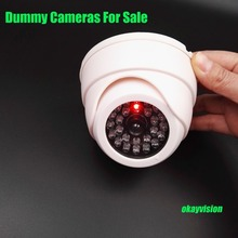 Fake Security Camera Indoor Outdoor Waterproof IR CCTV Dome Dummy Camera Shaped Decoy CCTV Video Surveillance System Camera LED