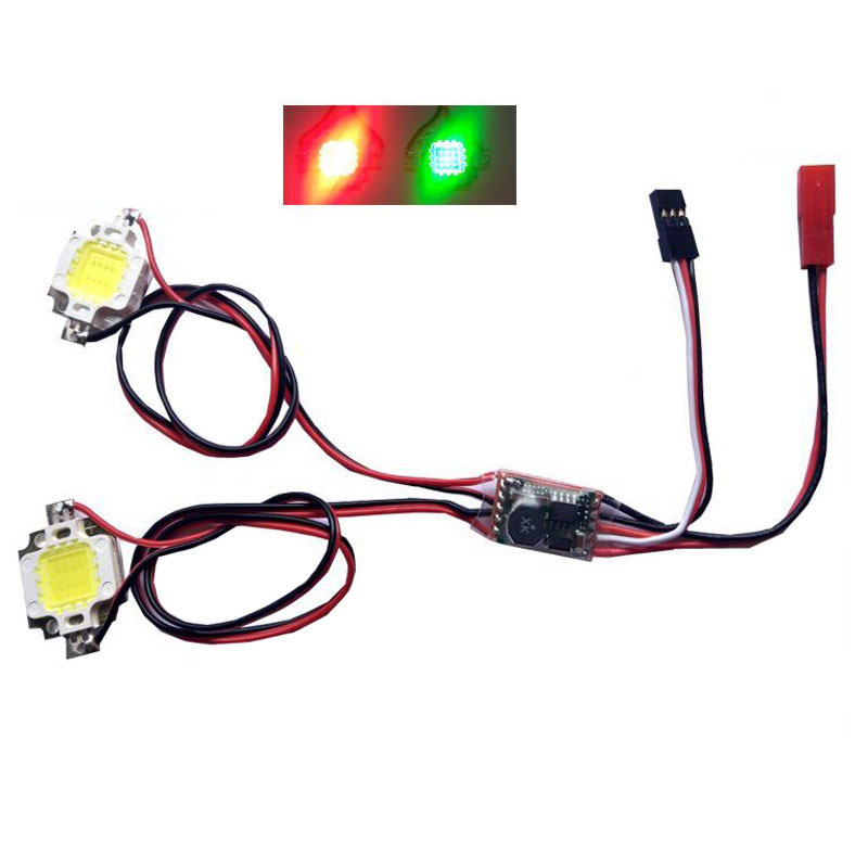 1PC RC Model Airplane FPV Four-axis Night Navigation Strobe Light Double Single Flash 10W LED Flashing Super Bright Red Green image