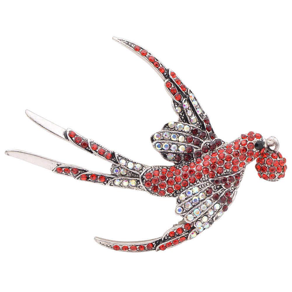 CINDY XIANG Nuovo Arrivo Strass Rondine Spille per Le Donne Dell'annata di Modo Uccello Spilla Spille Gioelleria raffinata e alla moda di grandi dimensioni Spilla