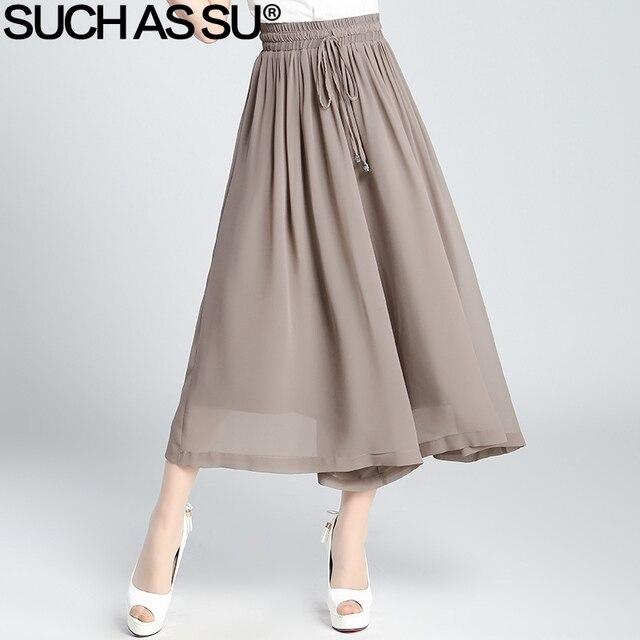 Verano 2017 nueva gasa de la manera pantalones anchos de la pierna negro  azul khaki brown de9e91538d2c