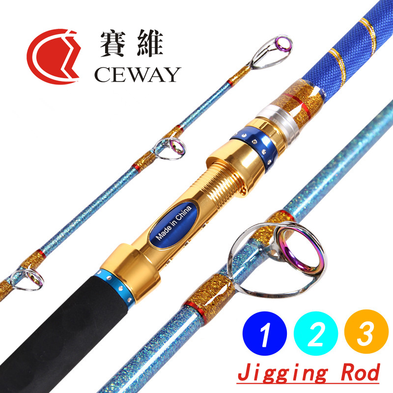 Carbon Fibre Fishing Rods Jig Poles Boat Rod Hard Powerful Jigging Pole Fish Supplies 1.5 section 1.73m 1.83m 1.9m FREE SHIPPING 1 65m 1 8m high carbon jigging rod 150 250g boat trolling fishing rod big game rods full metal reel seat sic guides eva handle