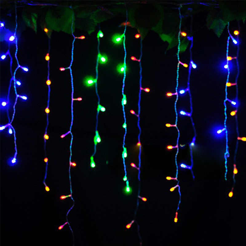 Рождественское наружное украшение 4,5 м Droop 0,3-0,5 м занавеска сосулька струнные светодиодные фонари 220 В/110 в новый год сад Xmas Свадебная вечеринка