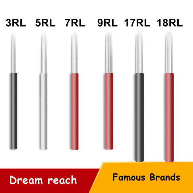 50pcs 17RL 18RL 30RL Shading Needles Tattoo Microblading Needles Manual Eyebrow Blade Manual SPMU Makeup Fog Eyebrow Needle