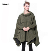 TUHAO Loose Plus Size Pullover Long Winter Sweaters High Street Knitted Outerwear Long Sleeve Ladies Cloak Tops Women LQ146