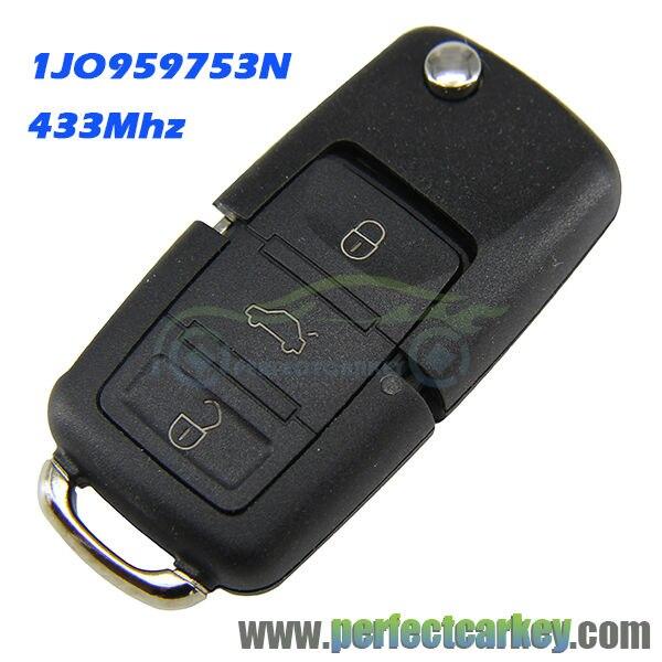 Prix pour 1JO959753N 433 Mhz HU66 clé lame 3 bouton auto pliant clé de voiture à distance fontrol auto à distance clé pour Vw auto flip clé