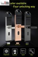 SmartYIBA Smart Door Lock Intelligent Biometric Fingerprint Lock Keyless Fingerprint+Password+RFID Card+Key For Home Anti theft