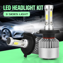CROSSLEOPARD S2 LED 10000LM/Set Car Headlight H1 H3 H4 H7 H11 H13 H27 9004 HB3 9006 HB4 9007 HB5 Bulb with 3 Sides Lights Lamps(China)