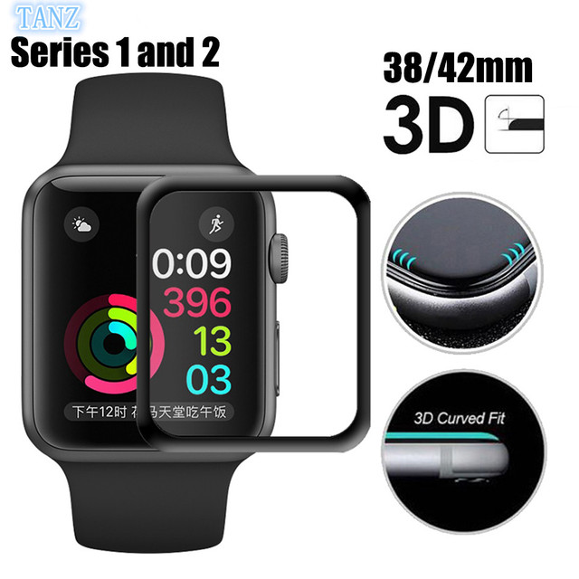huge selection of 50f81 34d7d US $1.74 27% OFF|Full Body Plating Tempered Glass For AppleWatch Series 2  38mm 42mm 40mm 44mm Full Cover 3D Curved Edge Screen Protector Film-in  Phone ...