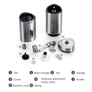 Image 4 - 수동 커피 그라인더 빨 세라믹 코어 스테인레스 스틸 수제 미니 휴대용 커피 콩 버 그라인더 밀 주방 도구