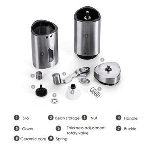 Image 4 - Manual Coffee Grinder Washable Ceramic Core Stainless Steel Handmade Mini Portable Coffee Bean Burr Grinders Mill Kitchen Tool