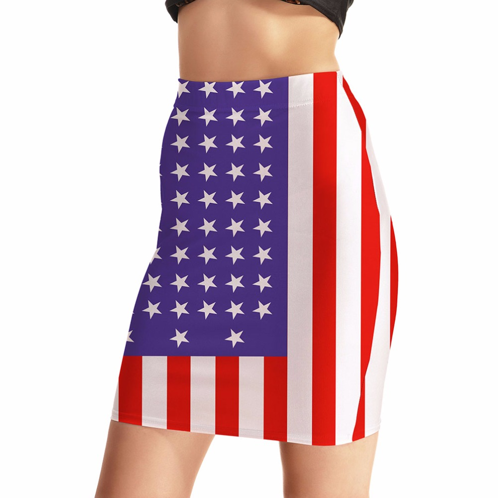NEW Arrival 0011 Sexy Girl Women Summer The Old Glory American Flag 3D Prints Skater Miniskirt Evening Sexy Mini Tight Skirt