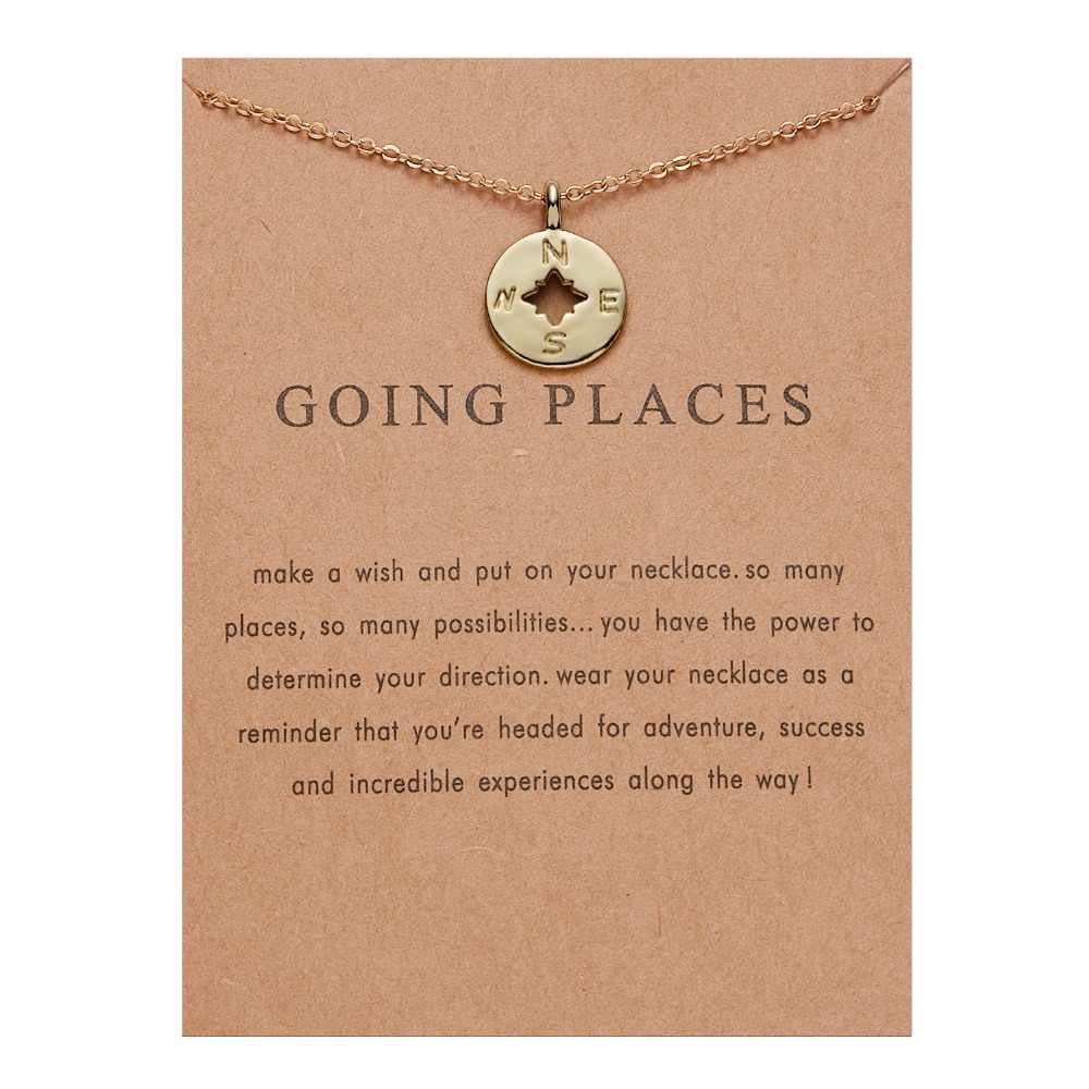 Fashion Jewelry Going Places, Flat Compass Necklace For Women Gold Color Compass Pendant Necklace Minimalist Clavicle Chains