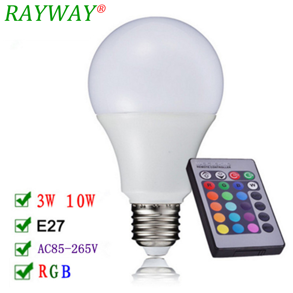 Free Shipping RAYWAY LED RGB Bulb E27 3W 10W LED Lamp Spot light Bulb 16 Color Change Lampada LED RGBW Lamp With Remote Control