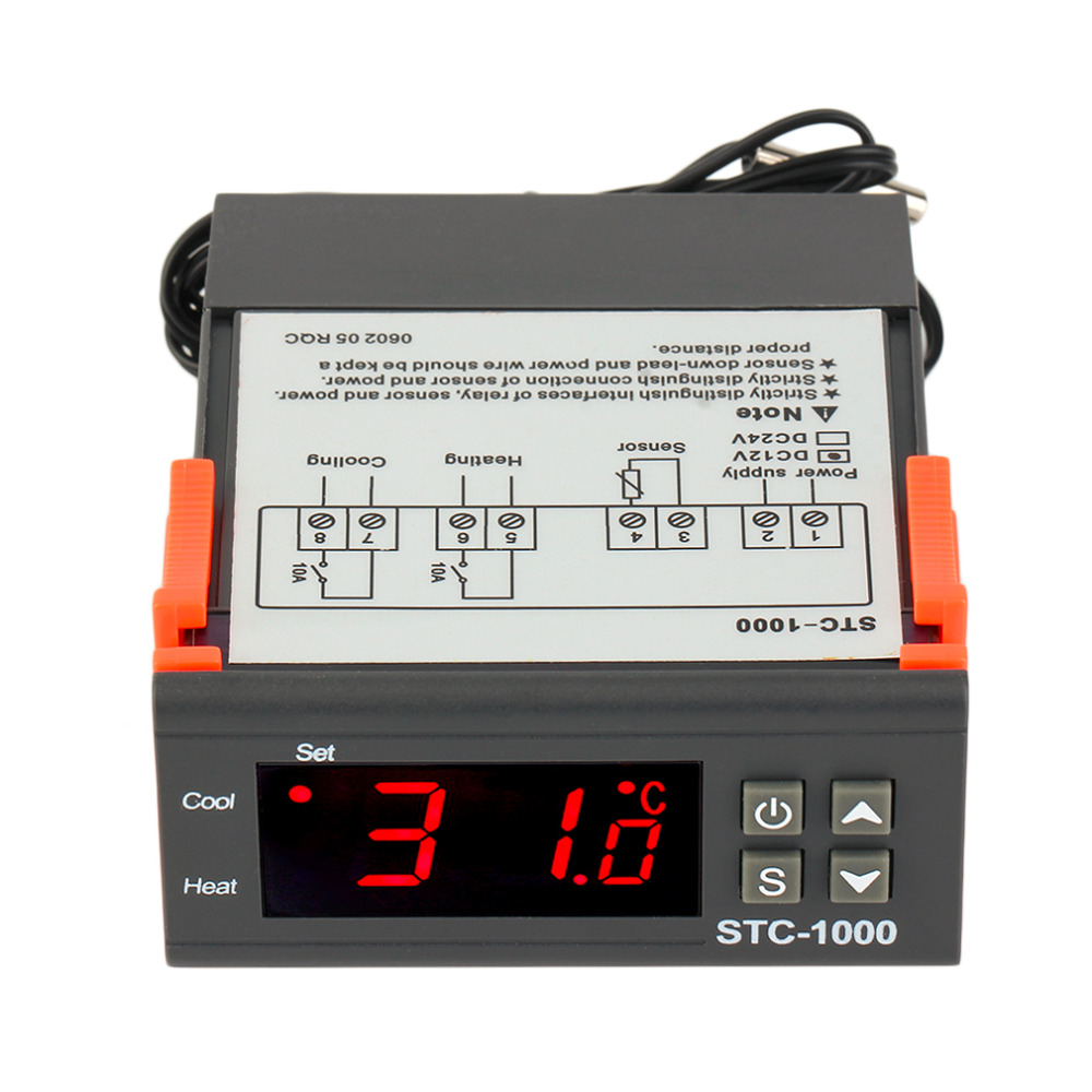 цена на DC AC 12V/24V Two Relay Output Digital Temperature Controller STC-1000 Thermostat -50~99 Degree with Sensor Hot Sale