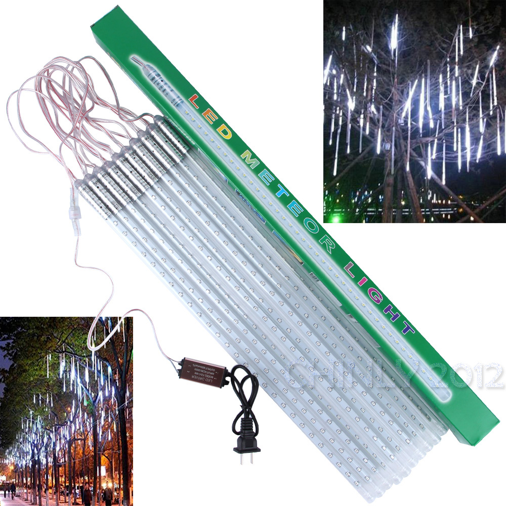 led christmas xmas lights 10pcsset 30cm 50cm snowfall tube meteor shower rain tube led string light christmas lights outdoor