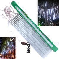 Christmas 10pcs Set SMD3528 Snowfall Tube 50cm Meteor Rain Led Tube Light Power Adapter 110 240V