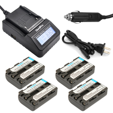 DuraPro 4Pcs NP-FM50 Battery + Extremely Fast LCD Charger for Sony Alpha A100 DSLR-A100 CCD-TRV408 DCR-PC105 DCR-TRV950 MVC-CD350