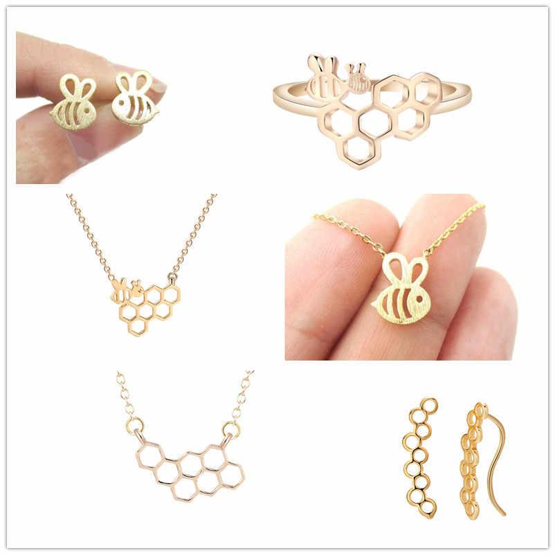 Qiming Emas Perak Menggemaskan Bumble Bee Serangga Berbentuk Stud Anting-Anting Hewan Perhiasan untuk Wanita Gadis Hadiah Anting-Anting Anting-Anting