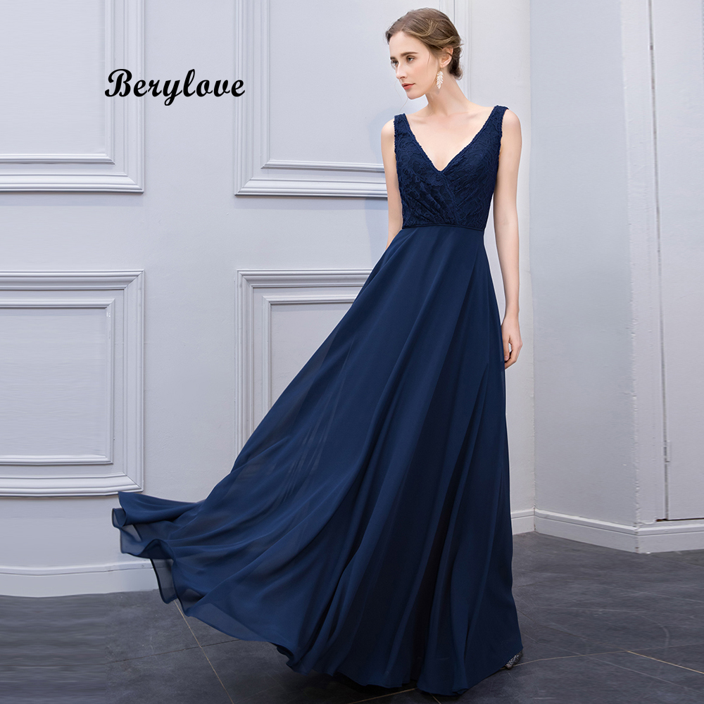 BeryLove Long Navy Blue Evening Dresses 2018 V Neck Lace Evening Dress  Styles Cheap Formal Party a30c2937e020