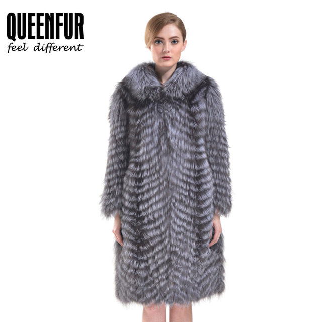 QUEENFUR Women Natural Silver Fox Fur Coat Warm Full Sleeve Real Fox Fur Jacket 2016 New Fashion Luxury Fur Coat Plus Size M-6XL
