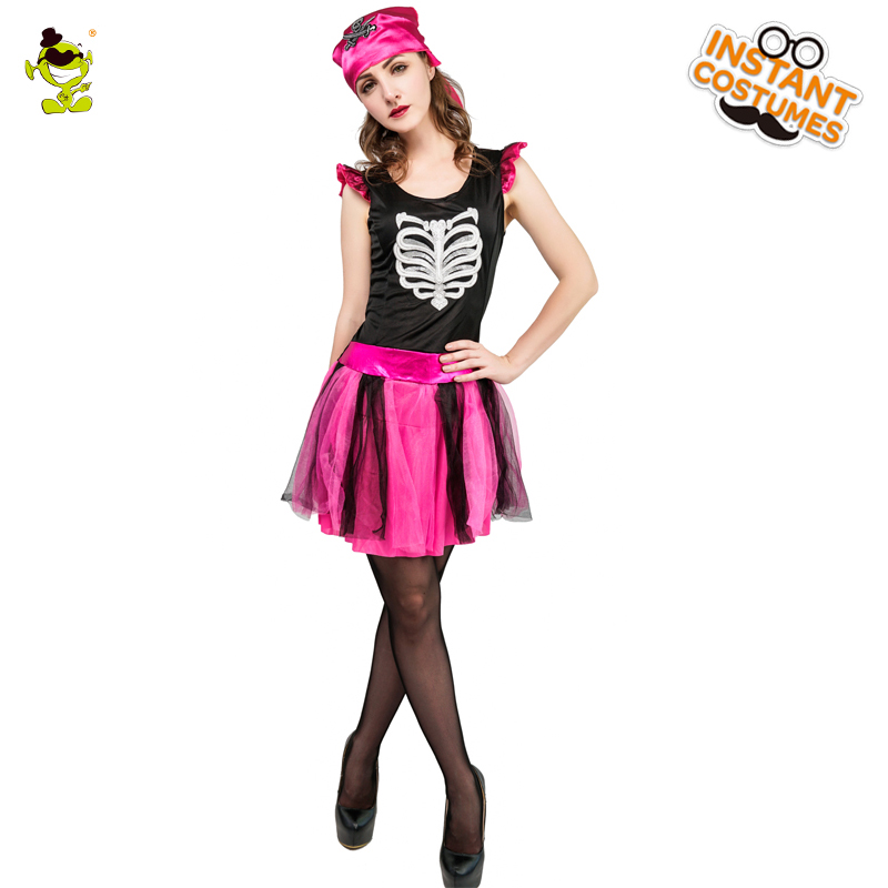 Women's Pink Skeleton Costume Role Play Halloween Ghost  Bone Digital Printing Dress Party Cosutme