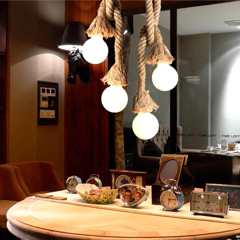 Vintage Pendant Lights Hemp Rope Lamp E27 Loft Creative DIY Hanging Industrial Led Lamp Black Indoor Lighting Luminaria Decor