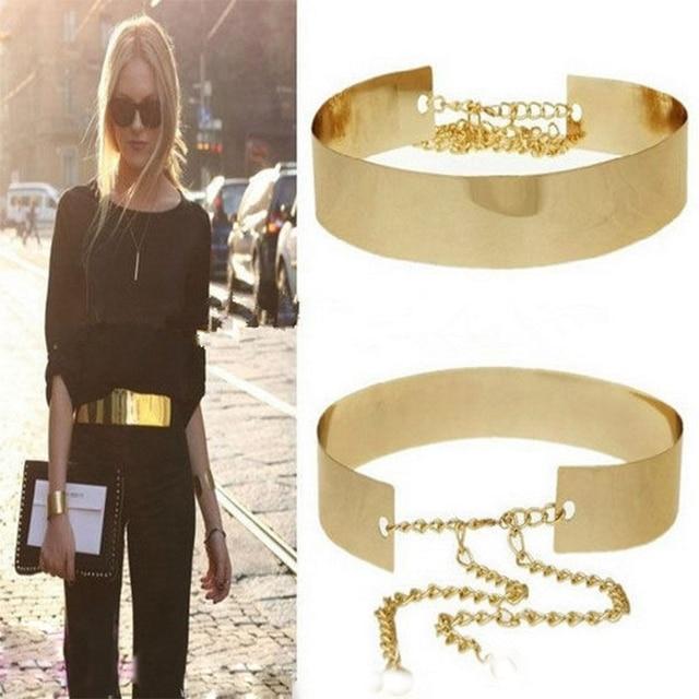 2428cde30e1 1 PC 66 cm femmes ceintures ceintures Punk métal complet miroir taille ceinture  métallique plaque d