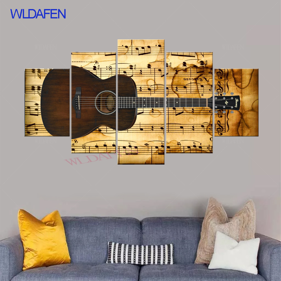 Canvas HD Prints Poster Living Room Decor 5 Pieces Music Classisc Retro  Guitar And Song Spectrum Pictures Wall Art Paintings f0b629e9fc38