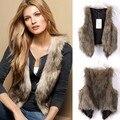 Outono inverno faux fur vest mulheres colete sem mangas colete outerwear colete de pele das mulheres casaco curto plus size XXXL 31
