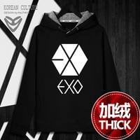 New Fashion Kpop Hoodie Sweatshirts Pullover Tops EXO Women/Men korean winter warm Top Hooded Long Sleeve Hoodies female Clothes