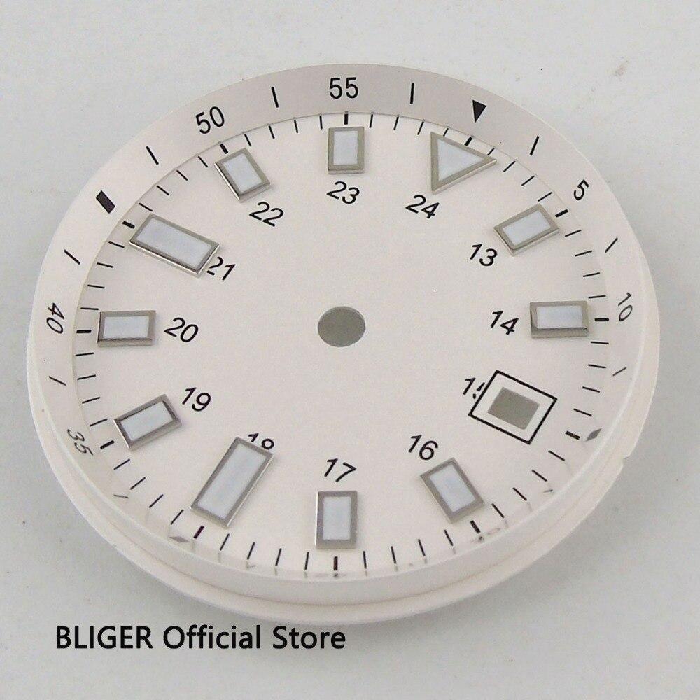 33mm Date Fenêtre Blanc Cadran Blanc Marques Lumineux Chiffres Montre Cadran Fit Pour ETA 2824 2836 MIYOTA 82 Série automatique Mouvement
