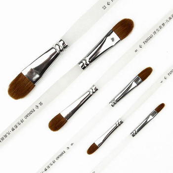 6Pcs Paint Brush Set Watercolor Brush Pen Weasel Hair Paint Brushes For Acrylic Oil Painting Wood Handle Paintbrush Art Supplies 6pcs fine bristle hair oil paint brush set filbert head woodlen handle professional paintbrush for artist oil painting supplies