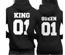 2018 Fashion King Queen Hoodie Couple Pullover Sweatshirt Unisex Hoodies Causal Long Sleeve Crewneck Love Men Women