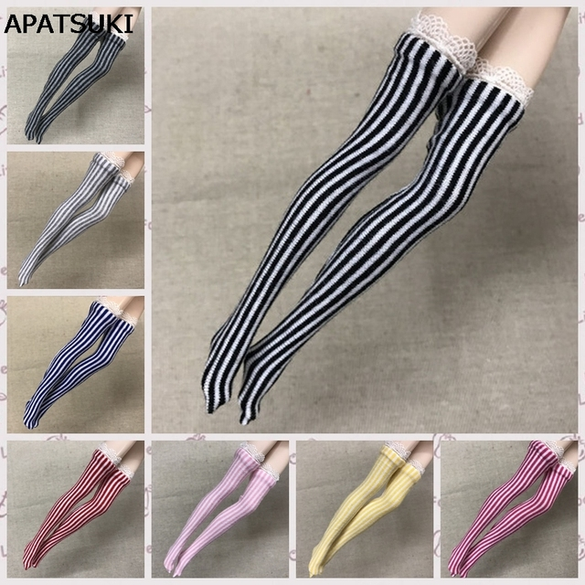8482f2eadaa 1pair Zebra Striped Doll Stockings for Barbie Dolls Elastic Thigh High  Stocking Long Sock For Barbie 1 6 Doll Accessories