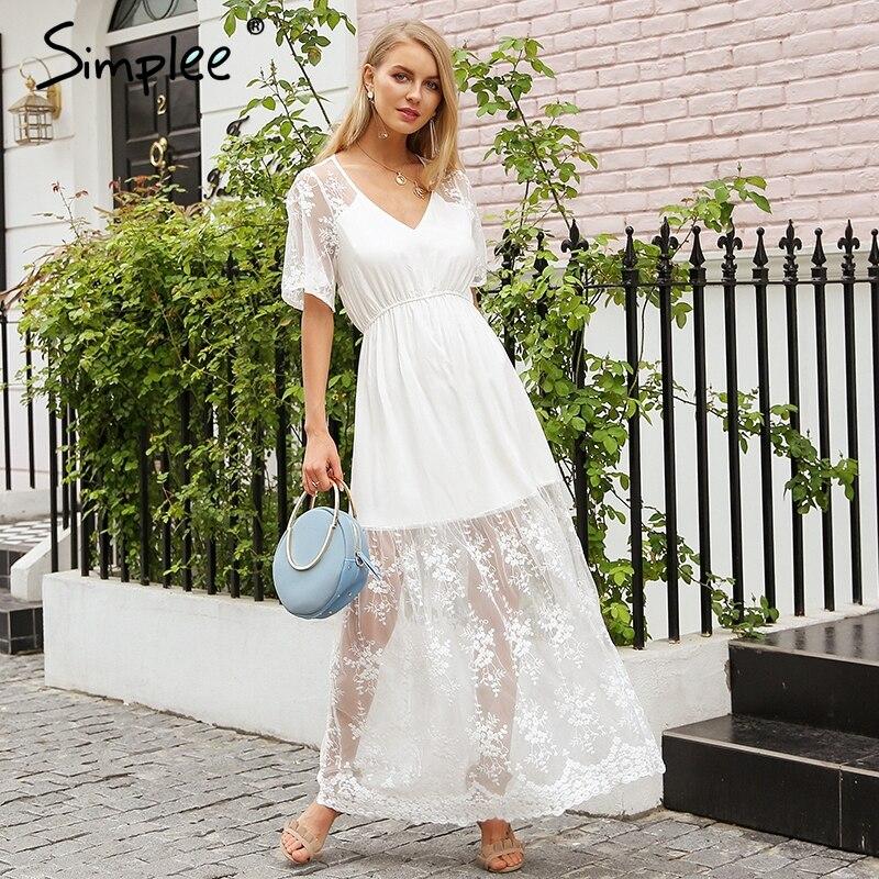 Просто, элегантно v-образным вырезом летнее платье женское прозрачное кружевное платье с вышивкой длинное уличная белое платье повседневно...