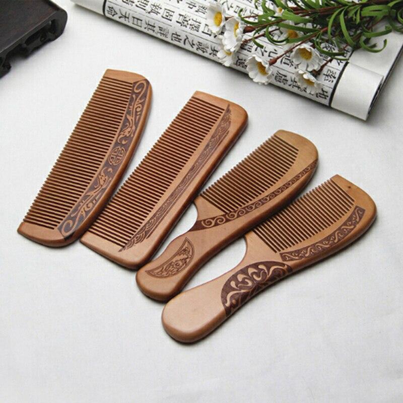 1 pçs pente antiestático pêssego natural pente de madeira maciça  gravado pêssego massagem saudável ferramenta de cuidados com o cabelo  acessórios de belezaPentes