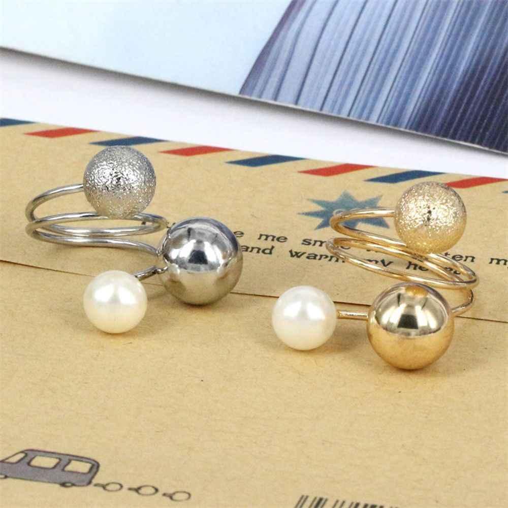 1 pçs mulher moda exagero jóias acessórios anéis de dedo bolas de metal simulado pérola anéis de abertura ajustável