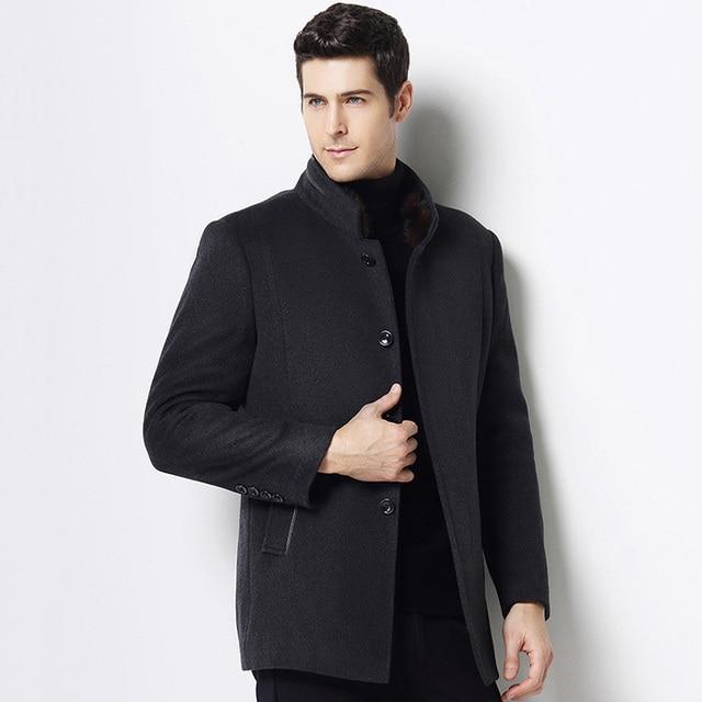 MUDI Wool Blends Men Coats Down Liner Detachable With 50% Wool Overcoat Mid-long Warm Male Jacket Slim Top Quality Coat Oversize 1