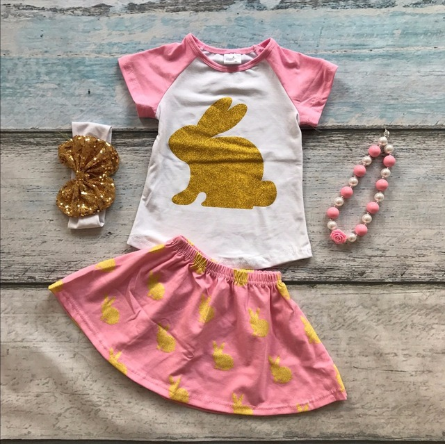 Easter pink bunny gold short sleeves baby Girls skirt print outfits cotton dress set summer outfits with matching accessories