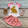 Pink pascua conejito de oro trajes de falda de impresión de manga corta de los bebés dress set trajes de verano de algodón con accesorios a juego