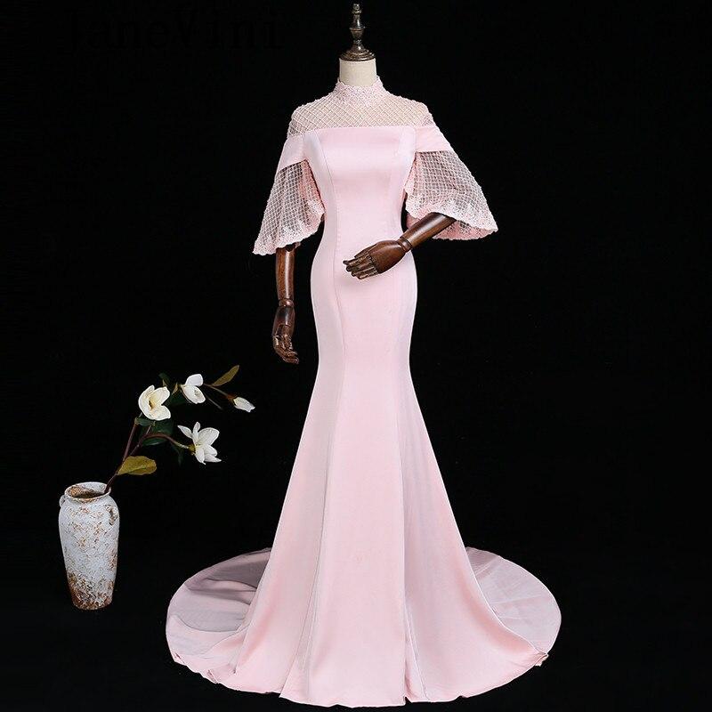 JaneVini элегантные розовые длинные платья невесты с рукавами Русалка Высокая шея Жемчуг Кружева Аппликации развертки Поезд халат Longue Роза