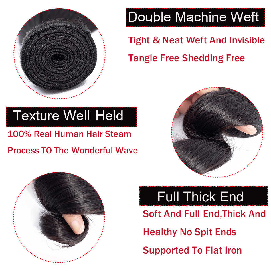 Мобок 3 пучка с 1 шт. 13x4 фронтальные малайзийские свободные волнистые волосы плетение 100% человеческие волосы натуральный цвет не реми волосы