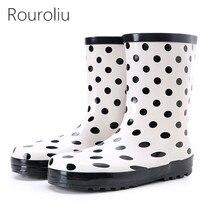 Rouroliu Women Breathable Mid-Calf Rain Boots Polka Dot Waterproof Water Shoes Woman Wellies Slip-on RB226