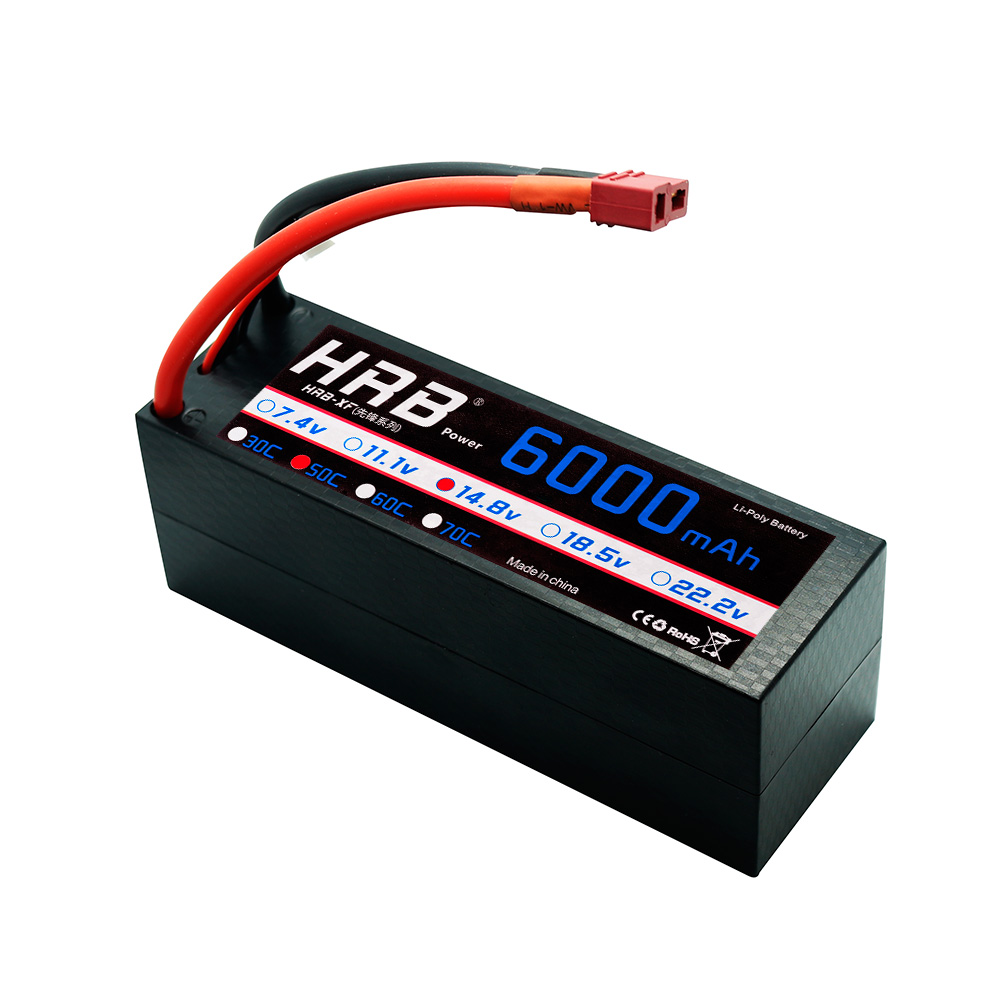 HRB 4S LiPo 14.8V 6000mAh RC Battery 50C-100C Hardcase XT60 Deans Connector For Traxxas X-maxx 1:10 1:8 Cars REDCAT LOSI Truck