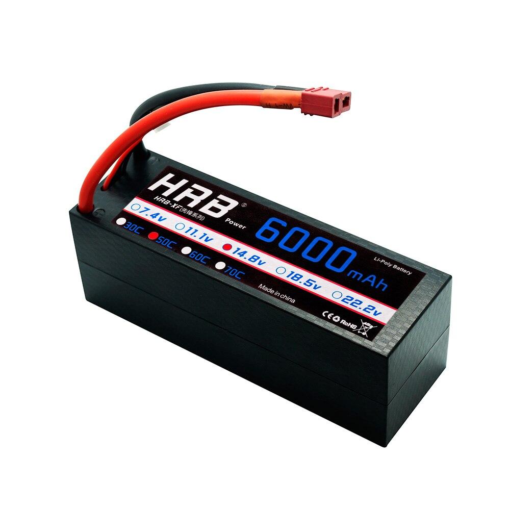 Oyuncaklar ve Hobi Ürünleri'ten Parçalar ve Aksesuarlar'de HRB 4S LiPo 14.8V 6000mAh RC Pil 50C 100C Hard Case XT60 Dekanlar konektörü Traxxas X maxx 1:10 1:8 Arabalar REDCAT LOSI Kamy'da  Grup 1