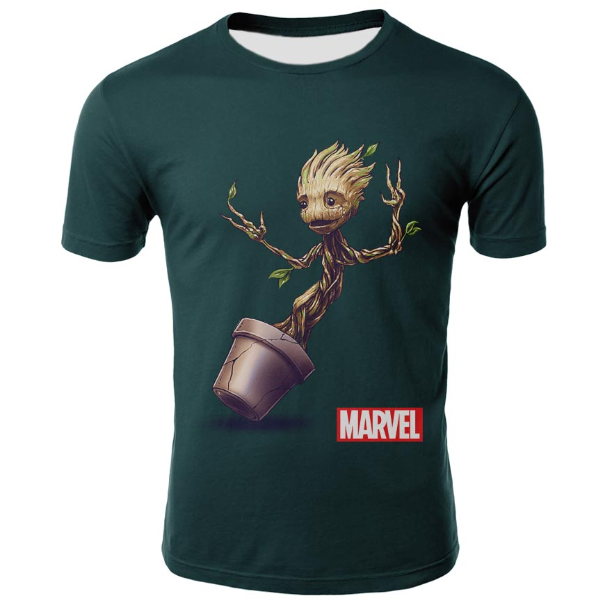 Summer clothing 3D print   T  -  Shirt   Groot Funny   T     Shirts   Short Sleeve 100% Cotton   t     shirt   men teesStreet Fashion Casual tops Gro