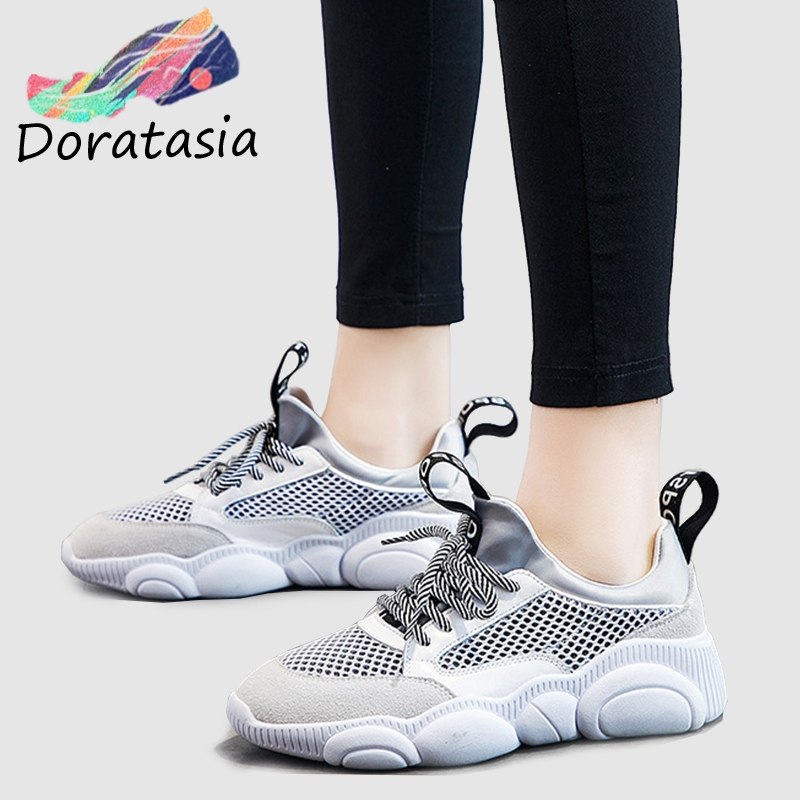 DORATASIA 2019 Spring New INS Hot Sale Bear Sole Mesh Sneakers Women Summer Genuine   Leather     Suede   Ladies Summer Daily Shoe Woman