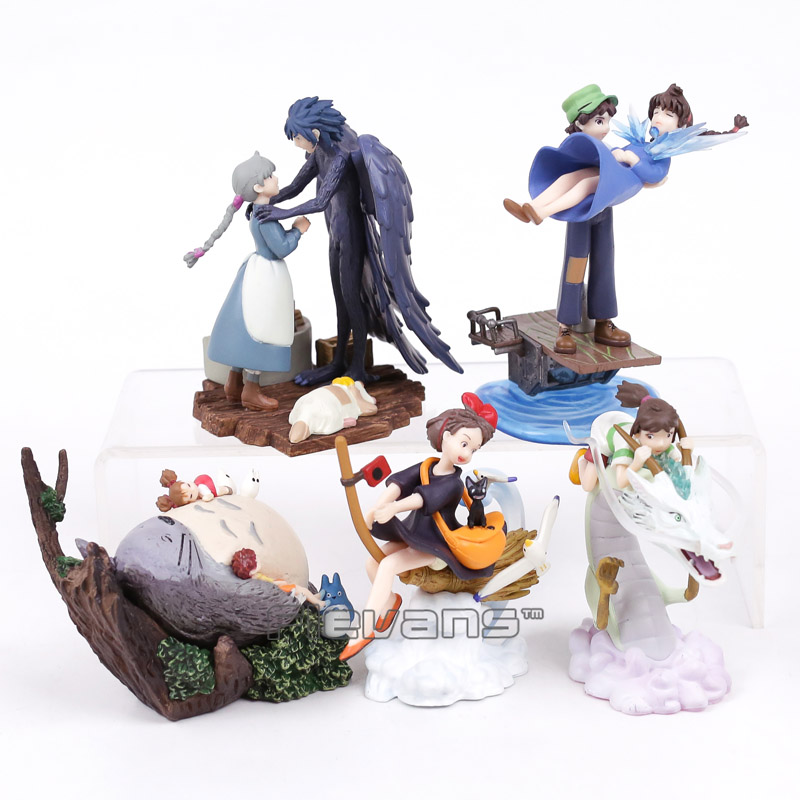 Miyazaki Hayao Spirited Away The Castle in the Sky Kiki's Delivery Service Totoro Howl's Moving Castle PVC Figures Toys 5pcs/lot a spirited resistance